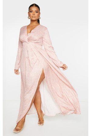 PRETTYLITTLETHING Plus Tan Zebra Twist Front Maxi Dress