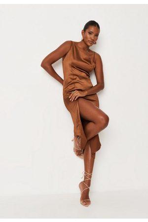 Missguided Chocolate Satin Asymmetric Drape Slip Midi Dress