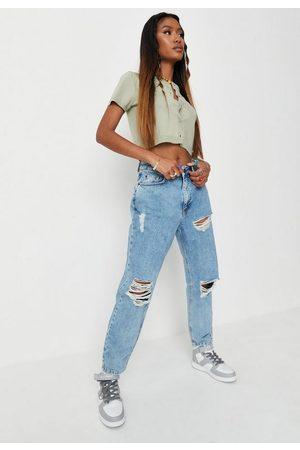 Missguided Petite High Waist Rip Knee Mom Jeans