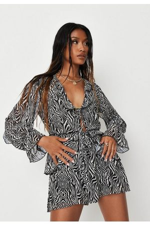 Missguided Zebra Print Ruffle Tie Front Blouse