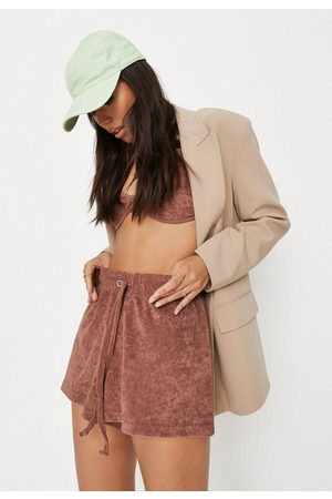 Missguided Taupe Towelling Flare Jersey Shorts