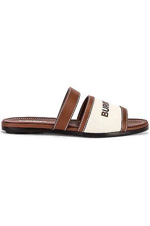 Burberry Honour Flat Sandals in Tan