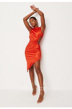 Missguided Satin Cut Out Side Asymmetric Midi Dress