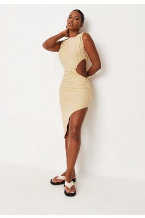 Missguided Ecru Cut Out Side Asymmetric Midi Dress