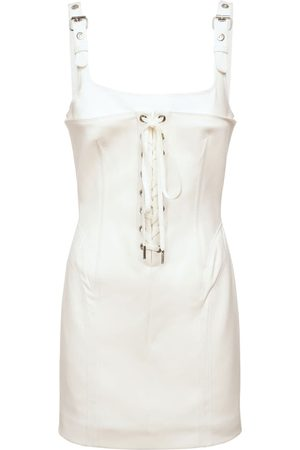 DION LEE Bonded Cotton Contour Stitch Mini Dress