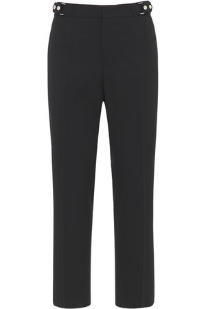 Solid Stretch Wool Straight Pants