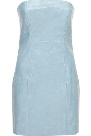 ROTATE Herla Strapless Faux Leather Mini Dress