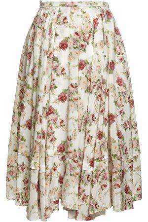 BROCK COLLECTION Printed Silk A Line Midi Skirt