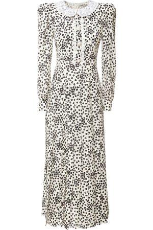 Alessandra Rich Printed Silk Dress W/ Embroidered Collar