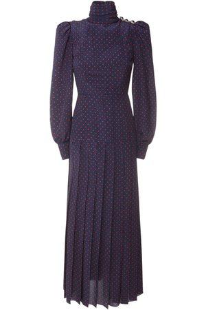 Alessandra Rich Women Printed Dresses - Polka Dot Print Silk Midi Dress