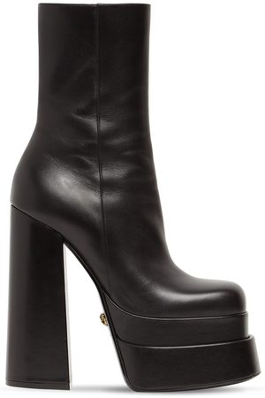 VERSACE 155mm Platform Leather Ankle Boots