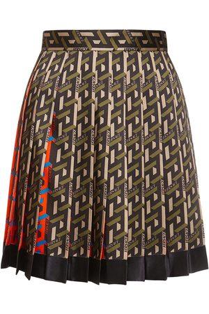 VERSACE Monogram Print Pleated Mini Skirt