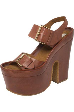 Stella McCartney Faux Leather Buckle Block Heel Platform Sandals Size 40