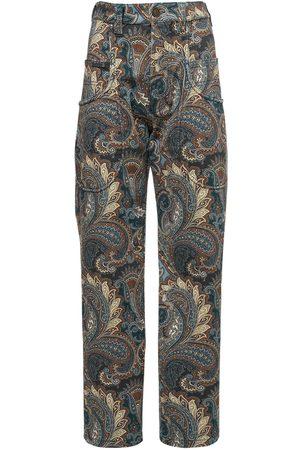 Etro Printed Cotton Denim Pants