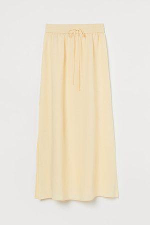 H&M Women Maxi Skirts - Long Linen-blend Skirt