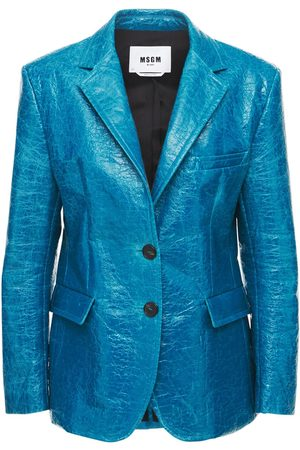 Msgm Wrinkled Faux Leather Blazer