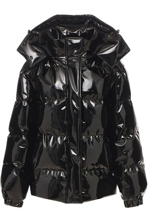 Msgm Women Leather Jackets - Patent Faux Leather Down Jacket
