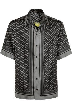 VERSACE Monogram & Medusa Smile Silk S/s Shirt