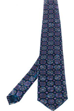 BRIONI Teal Floral Print Silk Tie