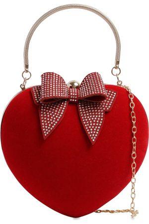 MONNALISA Girls Rucksacks - Heart Velvet Shoulder Bag
