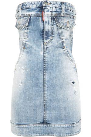 Dsquared2 Cotton Denim Strapless Mini Dress