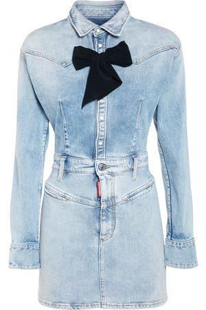 Dsquared2 Cotton Denim Mini Dress W/bow