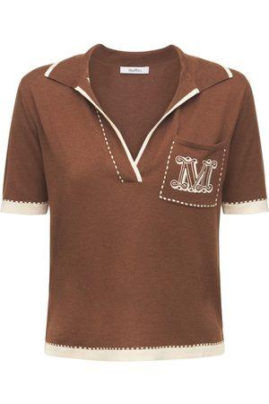 Max Mara Women Polo Shirts - Silk & Cashmere Knit Polo W/ Logo