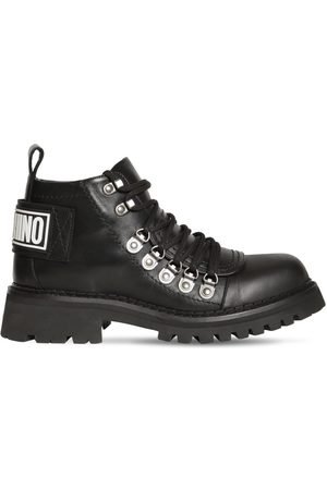Moschino Logo Leather Hiking Boots