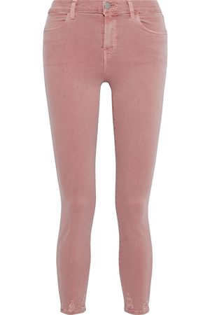 J Brand Women High Waisted - Woman Alana Distressed High-rise Skinny Jeans Antique Rose Size 28