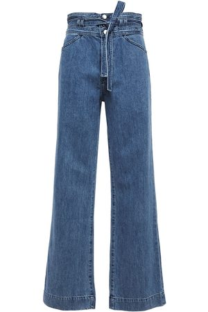 J Brand Woman Sukey Belted High-rise Wide-leg Jeans Mid Denim Size 26