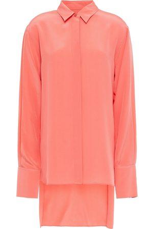 Joseph Woman Asymmetric Silk Crepe De Chine Shirt Bubblegum Size 34