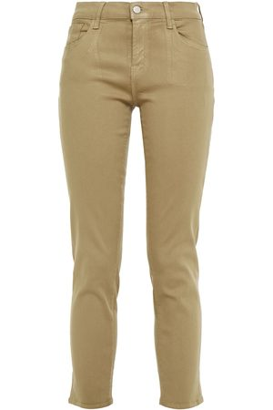 J Brand Woman Paz Cropped Coated Mid-rise Skinny Jeans Sage Size 24