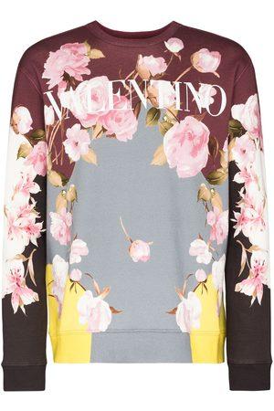 VALENTINO Men Sweatshirts - Colour-block floral sweatshirt - Grey