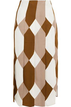 Joseph Woman Pleated Printed Crepe Midi Skirt Mushroom Size 34