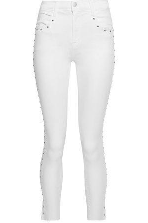 J Brand Woman Alana Cropped Studded High-rise Skinny Jeans Size 26