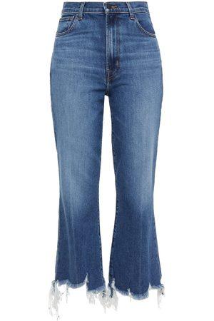 J Brand Woman Julia Distressed High-rise Kick-flare Jeans Mid Denim Size 23