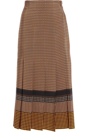 Joseph Woman Pleated Checked Silk Crepe De Chine Midi Skirt Size 34