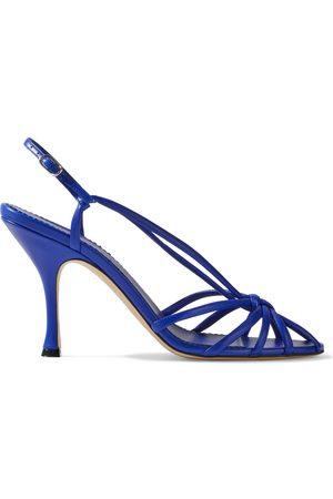 Victoria Beckham Woman Brigitte Knotted Leather Slingback Sandals Cobalt Size 39