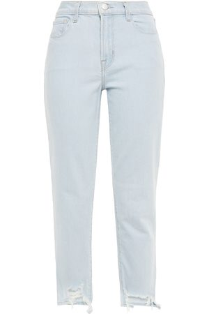 J Brand Women High Waisted - Woman Ruby Cropped Distressed High-rise Skinny Jeans Light Denim Size 25