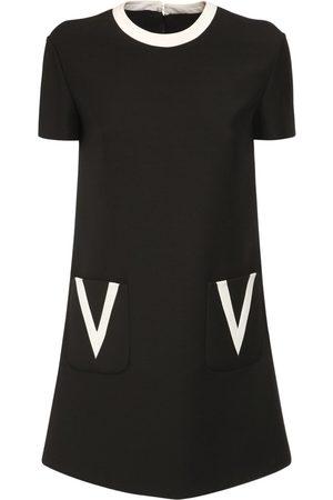 VALENTINO V Detail Crepe Couture Mini Dress