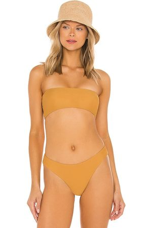 superdown Bella Strapless Bikini Top in Tan.