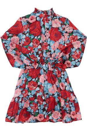 Msgm Roses Printed Satin Dress