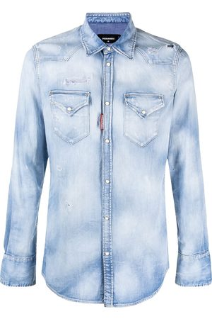 Dsquared2 Men Denim - Distressed press-stud denim shirt