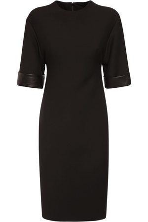 VALENTINO Crepe Couture Midi Dressw/leather Detail