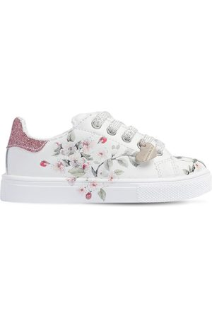 MONNALISA Printed & Glittered Leather Sneakers