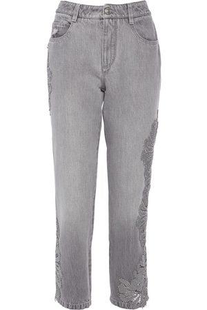 ERMANNO SCERVINO Cotton Denim Boyfriend Cropped Jeans