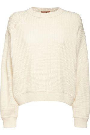ERMANNO SCERVINO Wool Blend Rib Knit Crewneck Sweater