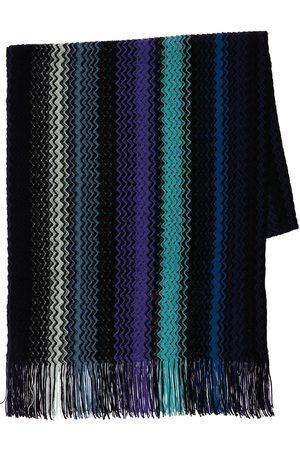 Missoni Knit Wool Striped Fringed Scarf