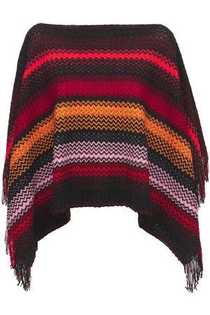 Missoni Knit Wool Striped Fringed Poncho
