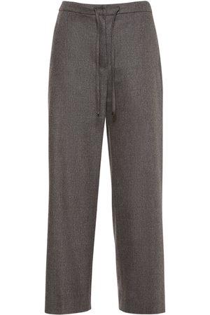 Max Mara Cropped Wool Flannel Sweatpants